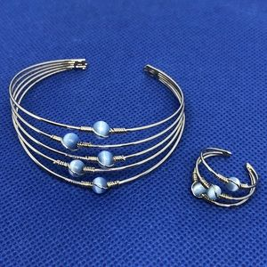 Jewelry - Silver & Blue Moonstone Wire Bracelet & Ring
